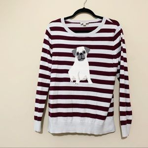 LOFT Outlet Sweaters - LOFT Outlet Maroon Striped Pug Sweater Size Large